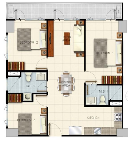 Sail Residences 3 Bedroom with Balcony 8