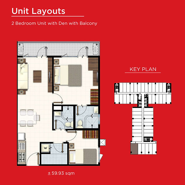 Red Residences 2 Bedroom with Den and Ba