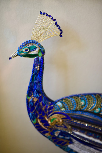 Peacock Glass and Fabric Artwork - Lily Adele Art
