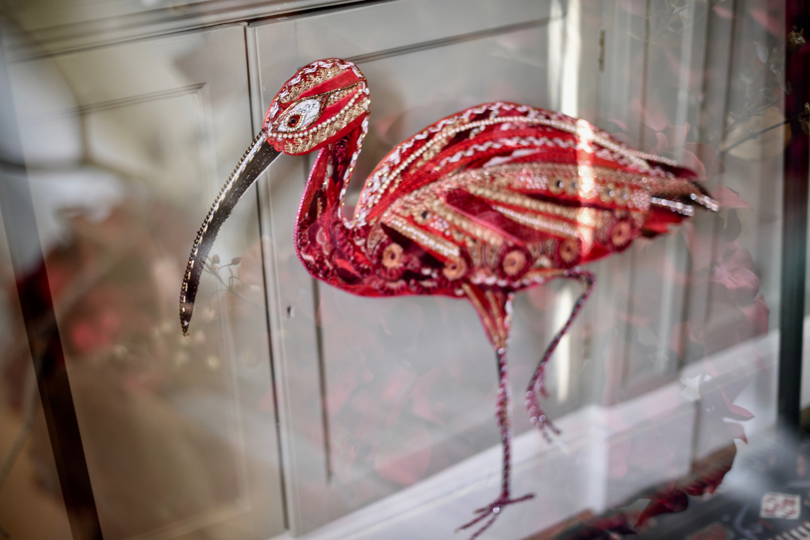 Glass Scarlet Ibis Bird Art - Lily Adele Art