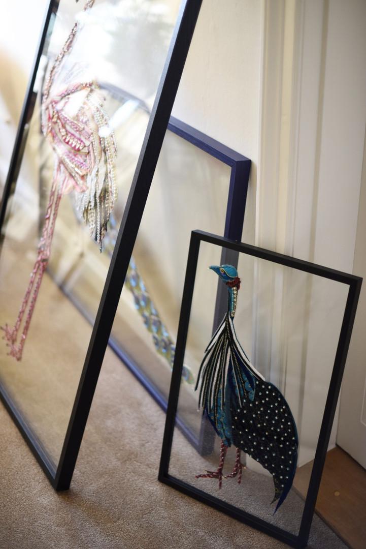 Framed Glass Guineafowl - Lily Adele Art