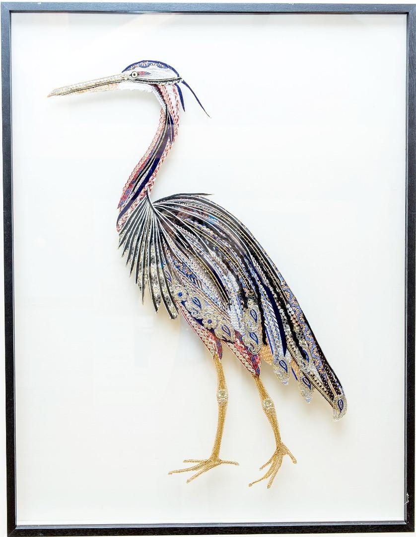 Purple Heron Mixed Textile Art - Lily Adele Art