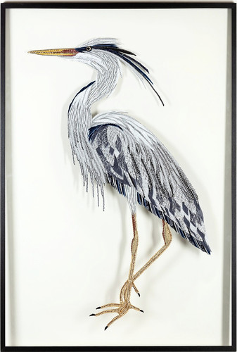 Grey Heron Textile and Glass Art - Lily Adele Art