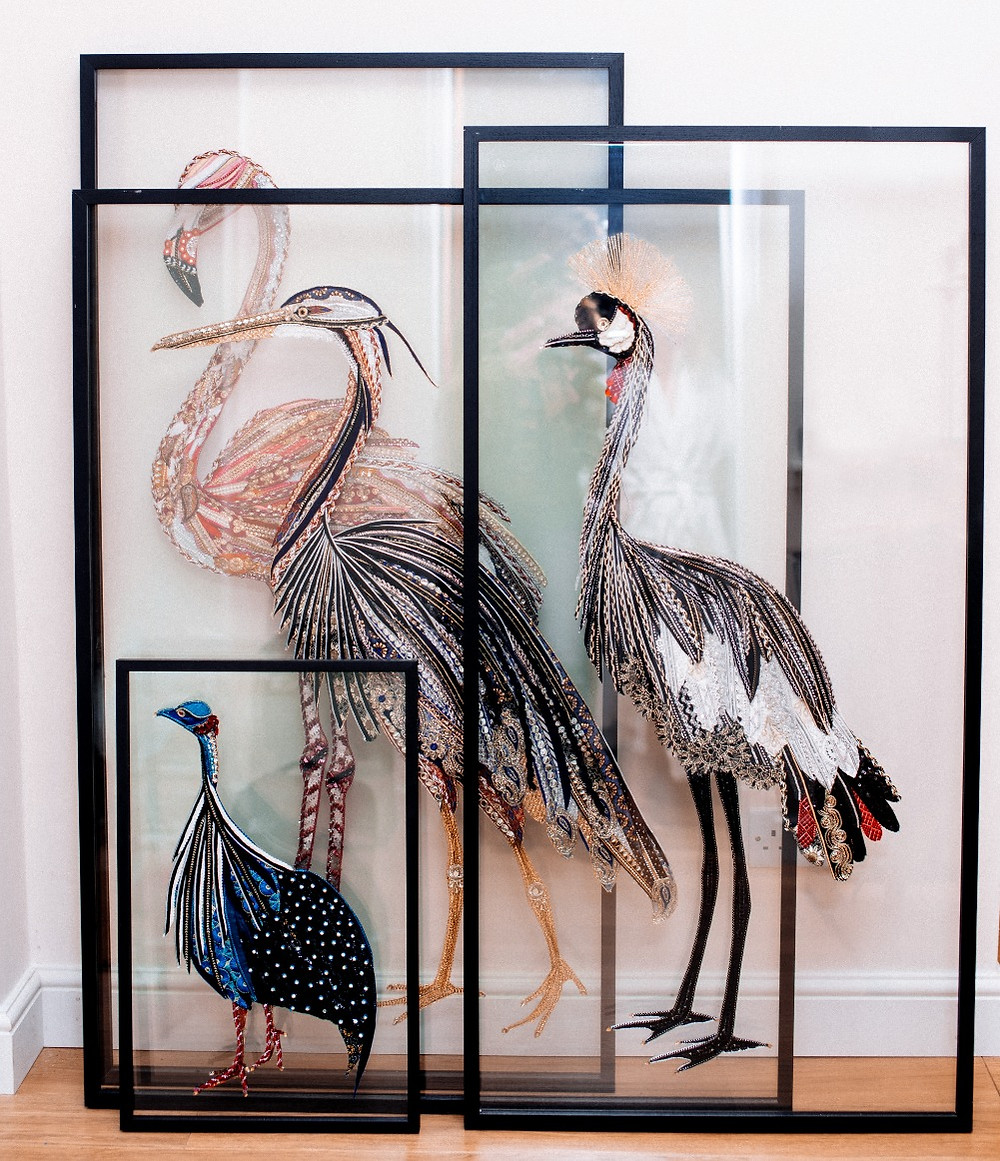 A collection of Lily Adele's beautiful glass and fabric bird art