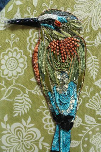 Blue Crowned Motmot Art Detail - Lily Adele Art