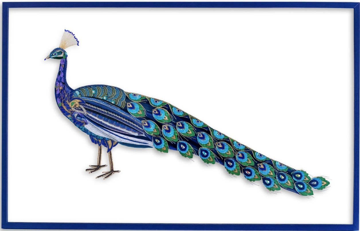 Peacock Textile and Glass Wall Art - Lily Adele Art