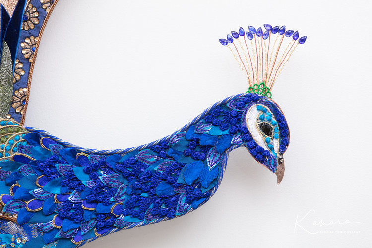 Peacock head and crown