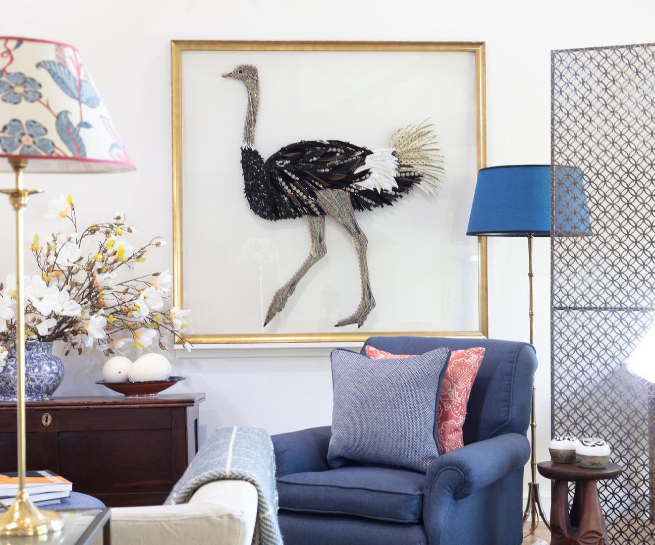 Ostrich Framed Wall Decor - Lily Adele Art