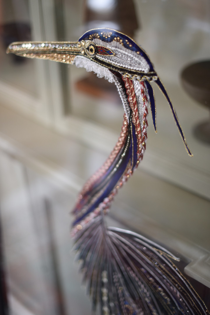 Purple Heron Art Detail Shot - Lily Adele Art