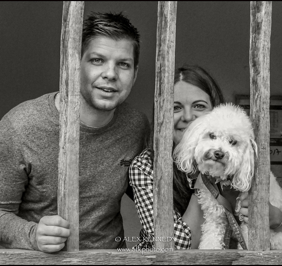 Cockerpoo and owners - Pet photography in wiltshire