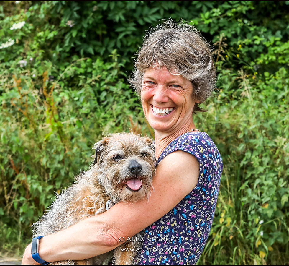 Border Terrier and owner - pet photography in wiltshire