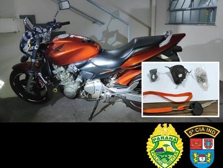 PM de Cianorte com apoio da P2 recupera motocicleta próximo de Vidigal que foi roubada em Farol