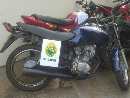 Motocicleta sem placas e com chassi adulterado é localizada pela Polícia Militar em Cianorte