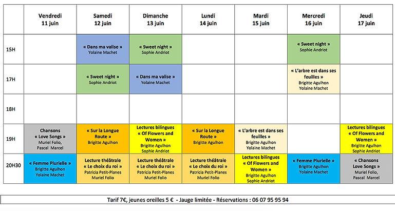 Programme porte Royale 11 au 17 juin 202