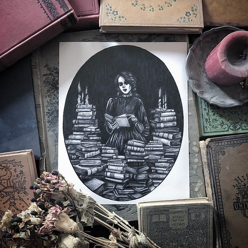 Bury Me in Books- Fine Art Print