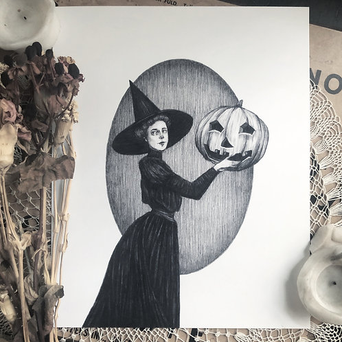 Pumpkin Witch - Fine Art Print