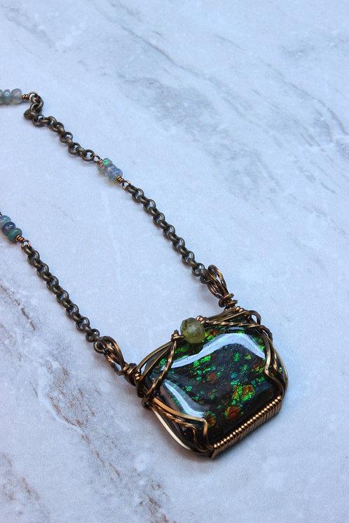 Rare Ammolite Gem Fossil BrassNecklace