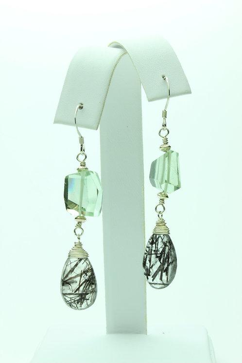 Prasiolite, Tourmalated Quartz & Silver Earrings