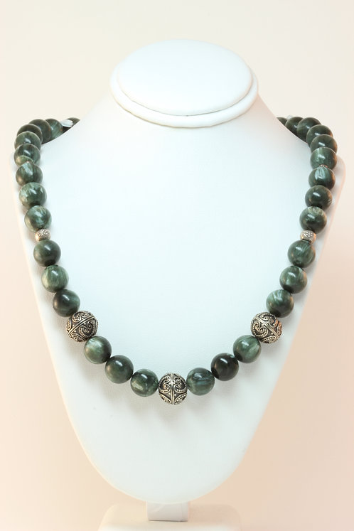 Seraphinite & Sterling Silver beaded Necklace