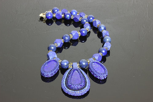 Lapis & Citrine Bead Embroidery Necklace