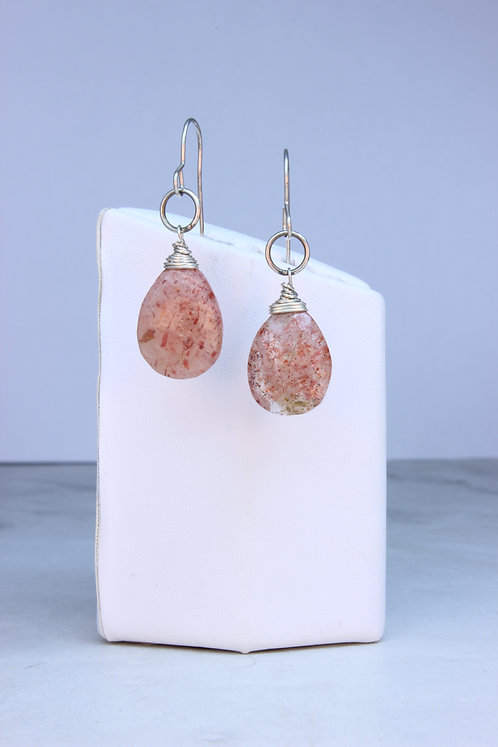 Sunstone & Sterling Silver Earrings