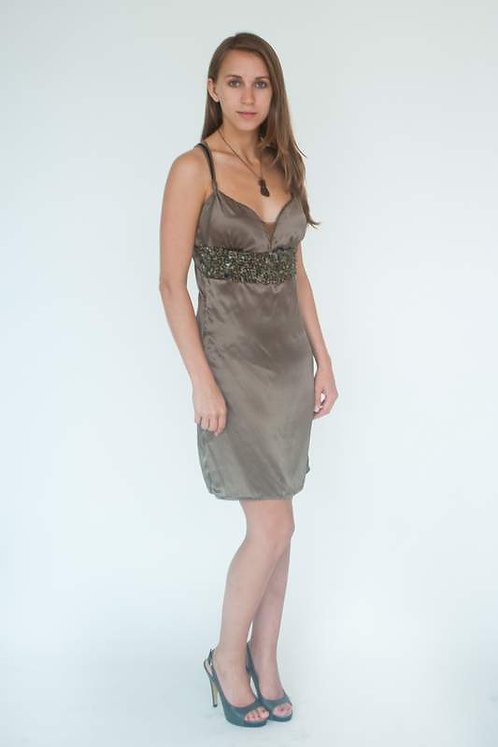 Beaded Olive Silk Evening Dress  Size 0