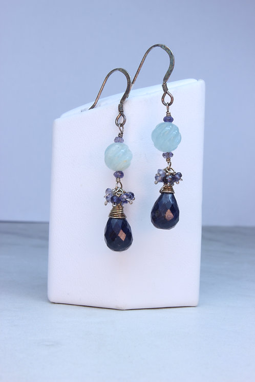 Blue Sapphire, Aquamarine, Iolite & Sterling Silver Earrings