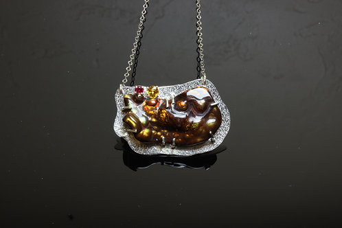 Fire Agate Pendant with Natural Yellow Sapphire & Ruby accents