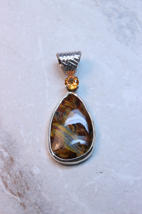 Pietersite ,Yellow Sapphire & Sterling Silver Pendant