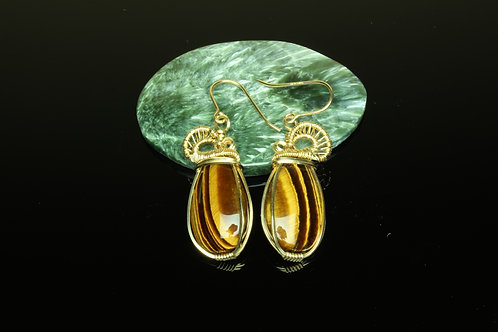 Tiger Eye & Gold Fill Wire Wrapped Earrings