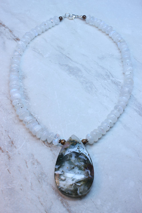 Moss Agate & Moonstone Necklace