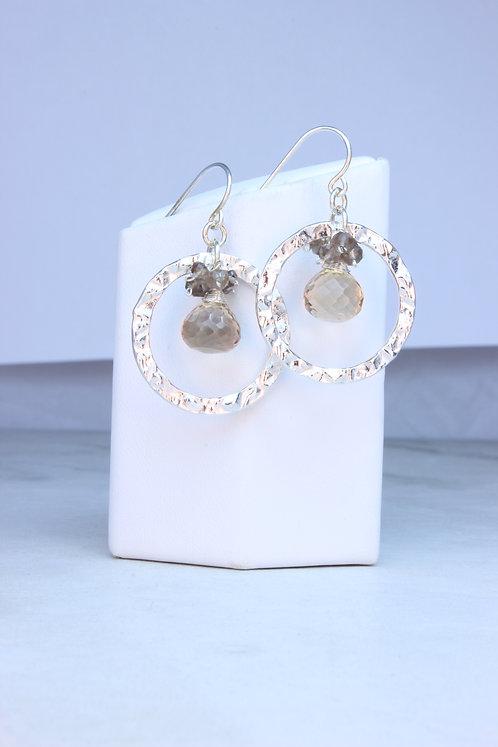 Smokey Quartz Sterling Silver Hoop Earrings