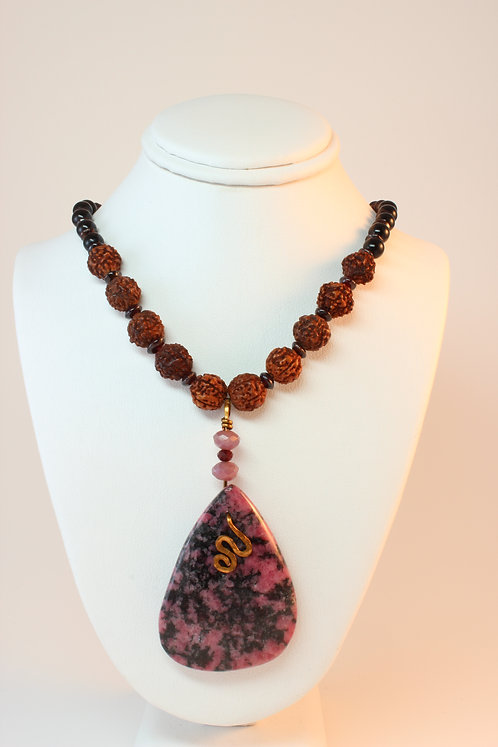 Rhodonite, Ruby, Prayer Beads & Garnet Necklace