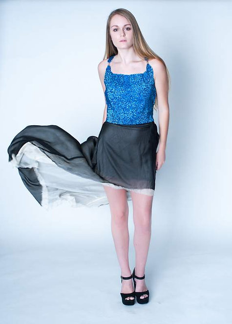 Blue 100% Beaded Top With Exposed Zipper, Size 2