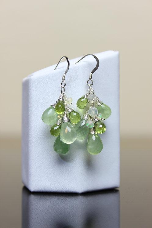 Prehnite, Peridot & Opal Sterling Silver Earrings