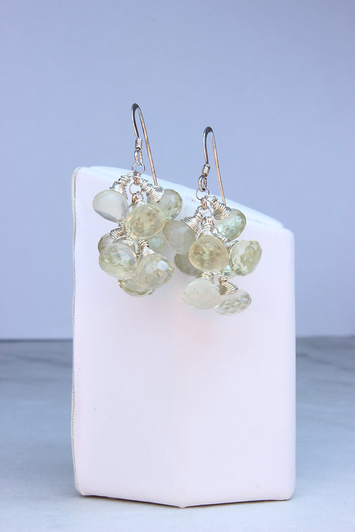 Lemon Quartz & Sterling Silver Cluster Earrings