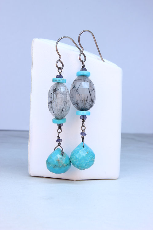 Tourmalated Quartz, Turquoise & Silver Earrings