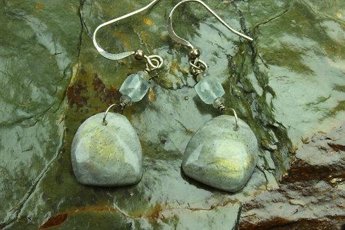 Labradorite, Aquamarine & Sterling Silver Earrings