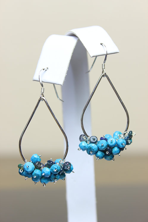 Turquoise, Opal & Sterling Silver Reversible Earrings