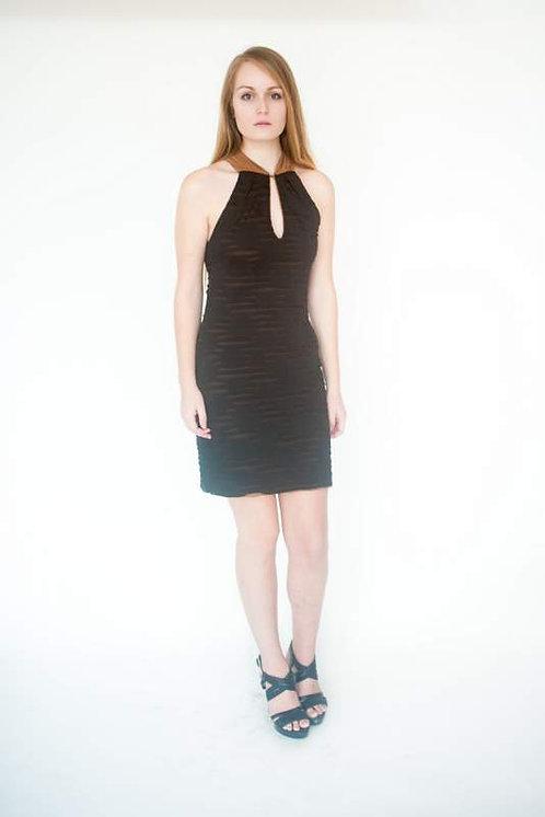 Lined & Textured Little Black Date Night Dress