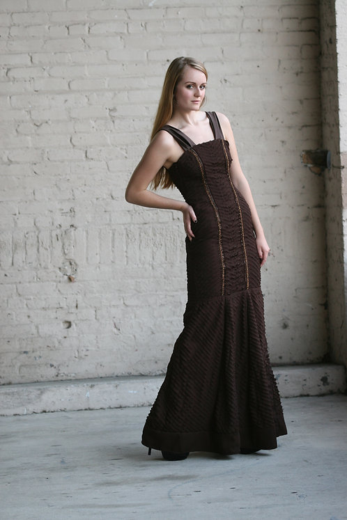 Dark Chocolate Layered Silk Beaded Evening Gown