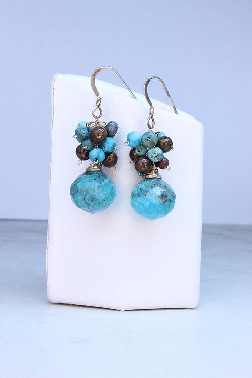 Turquoise & Bronzite Sterling Silver Earrings