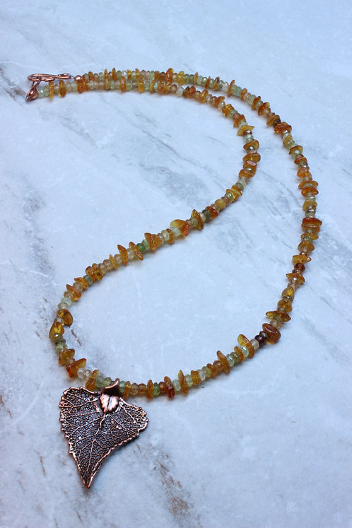 Amber, Hessonite & Copper Leaf Necklace