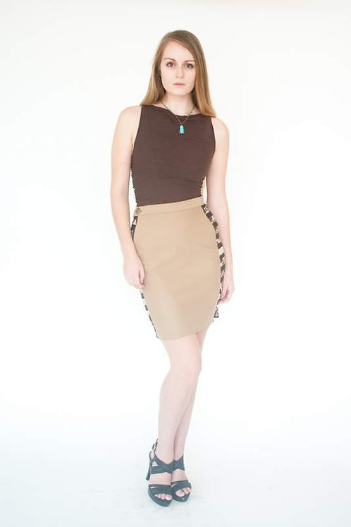 Khaki & Safari Print Layered Pencil Skirt  Size 0