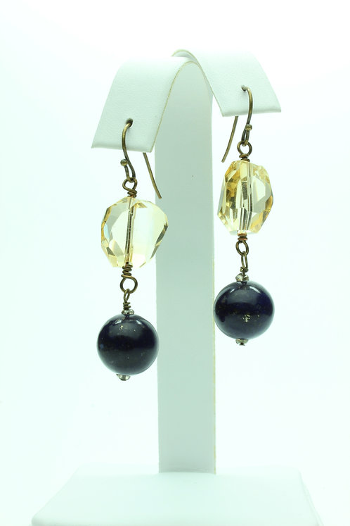 Lapis Lazuli, Citrine and Brass Earrings