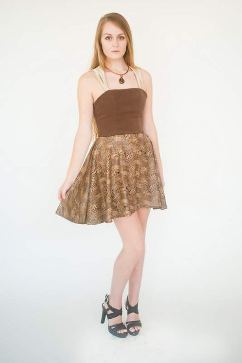 Chocolate Cotton Halter and Lace up Dress