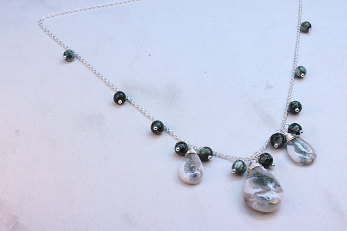 Solar Quartz, Saraphinite & Sterling Silver Necklace