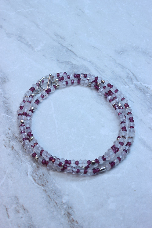 Garnet, Rose Quartz & Sterling Silver Wrap Bracelet