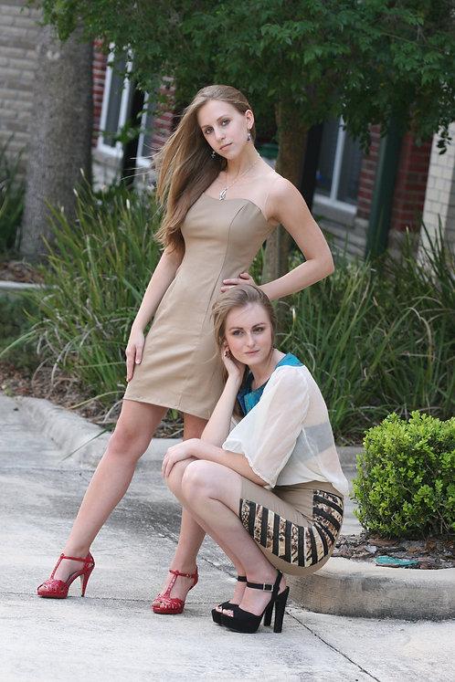 Khaki & Sheer Summer Mini Dress Size 0-2