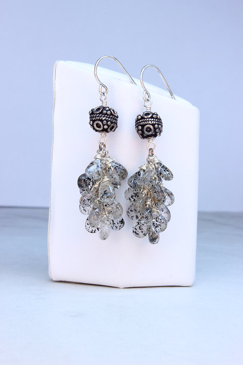 Tourmalated Quartz Sterling Silver Cluster Earrings
